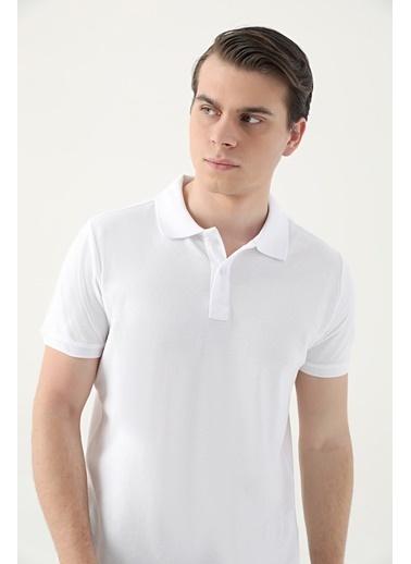 D'S Damat Regular Fitpike Dokulu T-Shirt Beyaz